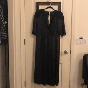 Too Shop knee length silky navy blue dress